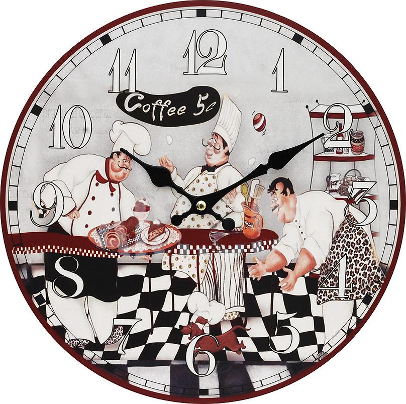 Часы настенные Белоснежка Время пить кофе, диаметр 34 см111-CLЧасы настенные Белоснежка станут изюминкой в дизайне интерьера вашего дома. Открытый циферблат выполнен из листа оргалита с декоративным покрытием. Часы имеют две стрелки – часовую и минутную. Часовой механизм сзади закрыт пластиковым корпусом. Предусмотрено отверстие для крепления на стену. Питание от одной батарейки стандарта АА (в комплект не входит).Диаметр часов: 34 см.