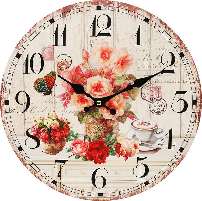 Часы настенные Белоснежка Розы и кофе, диаметр 34 см112-CLЧасы настенные Белоснежка станут изюминкой в дизайне интерьера вашего дома. Открытый циферблат выполнен из листа оргалита с декоративным покрытием. Часы имеют две стрелки – часовую и минутную. Часовой механизм сзади закрыт пластиковым корпусом. Предусмотрено отверстие для крепления на стену. Питание от одной батарейки стандарта АА (в комплект не входит).Диаметр часов: 34 см.