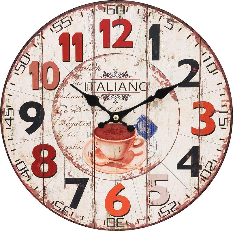Часы настенные Белоснежка Кофе из Италии, диаметр 34 см113-CLЧасы настенные Белоснежка станут изюминкой в дизайне интерьера вашего дома. Открытый циферблат выполнен из листа оргалита с декоративным покрытием. Часы имеют две стрелки – часовую и минутную. Часовой механизм сзади закрыт пластиковым корпусом. Предусмотрено отверстие для крепления на стену. Питание от одной батарейки стандарта АА (в комплект не входит).Диаметр часов: 34 см.