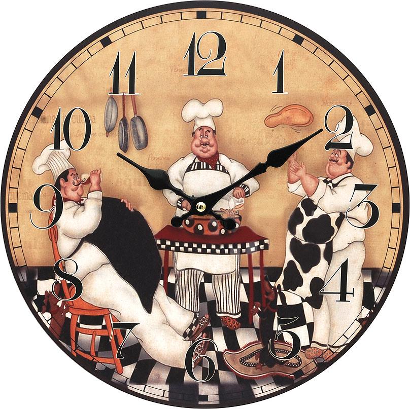 Часы настенные Белоснежка Время печь пироги, диаметр 34 см114-CLЧасы настенные Белоснежка станут изюминкой в дизайне интерьера вашего дома. Открытый циферблат выполнен из листа оргалита с декоративным покрытием. Часы имеют две стрелки – часовую и минутную. Часовой механизм сзади закрыт пластиковым корпусом. Предусмотрено отверстие для крепления на стену. Питание от одной батарейки стандарта АА (в комплект не входит).Диаметр часов: 34 см.