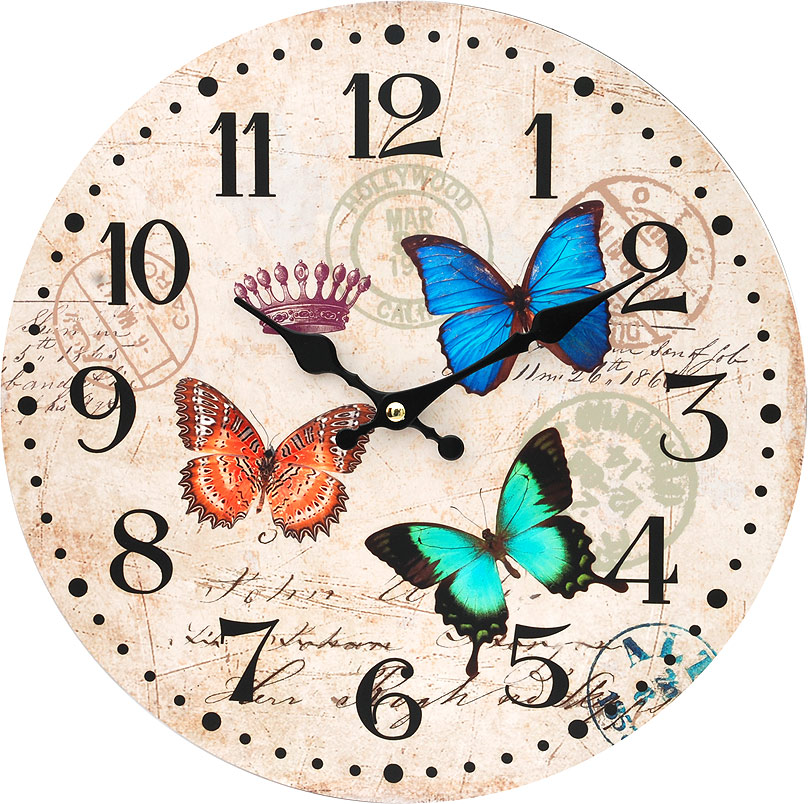 Часы настенные Белоснежка Разноцветные бабочки, диаметр 34 см116-CLНастенные часы Белоснежка Разноцветные бабочки своим необычным дизайном подчеркнут стильность и оригинальность интерьера вашего дома. Такие часы послужат отличным подарком для ценителя ярких и необычныхвещей. Циферблат: открытый, выполнен из листа оргалита с декоративным покрытием.Стрелки металлические - часовая и минутная. Часовой механизм закрыт пластиковым корпусом. Питание от одного элемента питания стандарта АА.Отверстие для крепления часов на стену. Диаметр 34 см.