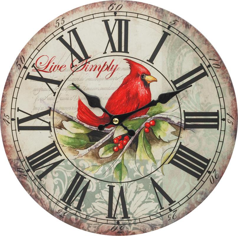 Часы настенные Белоснежка Красный кардинал, диаметр 34 см121-CLЧасы настенные Белоснежка станут изюминкой в дизайне интерьера вашего дома. Открытый циферблат выполнен из листа оргалита с декоративным покрытием. Часы имеют две стрелки – часовую и минутную. Часовой механизм сзади закрыт пластиковым корпусом. Предусмотрено отверстие для крепления на стену.Питание от одной батарейки стандарта АА (в комплект не входит). Диаметр часов: 34 см.