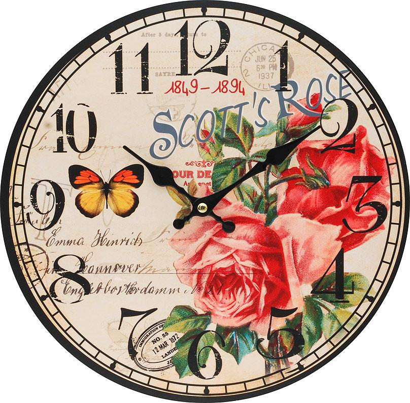 Часы настенные Белоснежка Розовый куст, диаметр 34 см126-CLЧасы настенные Белоснежка станут изюминкой в дизайне интерьера вашего дома. Открытый циферблат выполнен из листа оргалита с декоративным покрытием. Часы имеют две стрелки – часовую и минутную. Часовой механизм сзади закрыт пластиковым корпусом. Предусмотрено отверстие для крепления на стену.Питание от одной батарейки стандарта АА (в комплект не входит). Диаметр часов: 34 см.