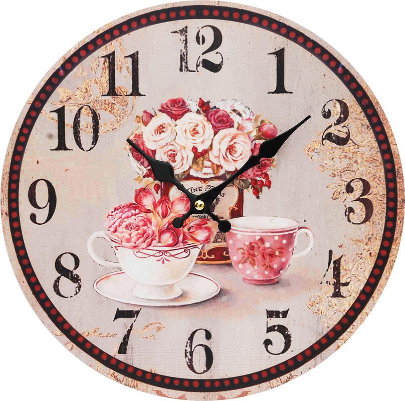 Часы настенные Белоснежка Розы, диаметр 34 см130-CLЧасы настенные Белоснежка станут изюминкой в дизайне интерьера вашего дома. Открытый циферблат выполнен из листа оргалита с декоративным покрытием. Часы имеют две стрелки – часовую и минутную. Часовой механизм сзади закрыт пластиковым корпусом. Предусмотрено отверстие для крепления на стену.Питание от одной батарейки стандарта АА (в комплект не входит). Диаметр часов: 34 см.