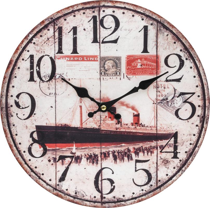 Часы настенные Белоснежка Пароход, диаметр 34 см131-CLЧасы настенные Белоснежка станут изюминкой в дизайне интерьера вашего дома. Открытый циферблат выполнен из листа оргалита с декоративным покрытием. Часы имеют две стрелки – часовую и минутную. Часовой механизм сзади закрыт пластиковым корпусом. Предусмотрено отверстие для крепления на стену. Питание от одной батарейки стандарта АА (в комплект не входит).Диаметр часов: 34 см.