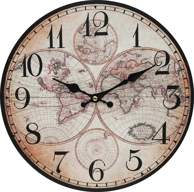 Часы настенные Белоснежка Карта мира, диаметр 34 см133-CLЦиферблат: открытый, выполнен из листа оргалита с декоративным покрытием. Стрелки металлические – часовая и минутная. Часовой механизм закрыт пластиковым корпусом. Питание от одного элемента питания стандарта АА. Отверстие для крепления часов на стену. Диаметр 34 см.