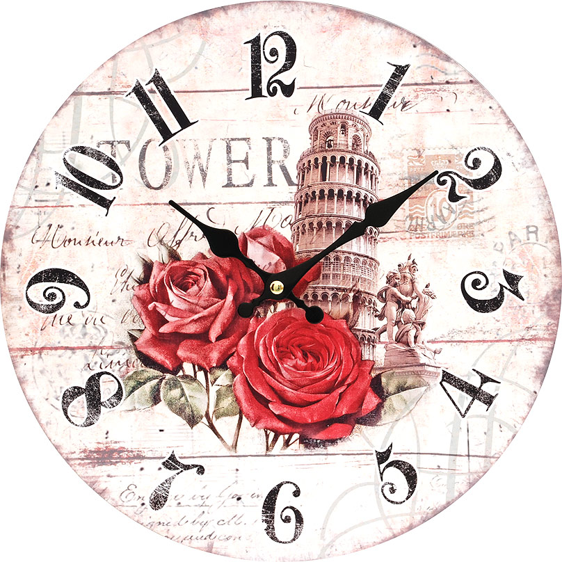 Часы настенные Белоснежка Пизанская башня, диаметр 34 см137-CLЧасы настенные Белоснежка станут изюминкой в дизайне интерьера вашего дома. Открытый циферблат выполнен из листа оргалита с декоративным покрытием. Часы имеют две стрелки – часовую и минутную. Часовой механизм сзади закрыт пластиковым корпусом. Предусмотрено отверстие для крепления на стену.Питание от одной батарейки стандарта АА (в комплект не входит). Диаметр часов: 34 см.