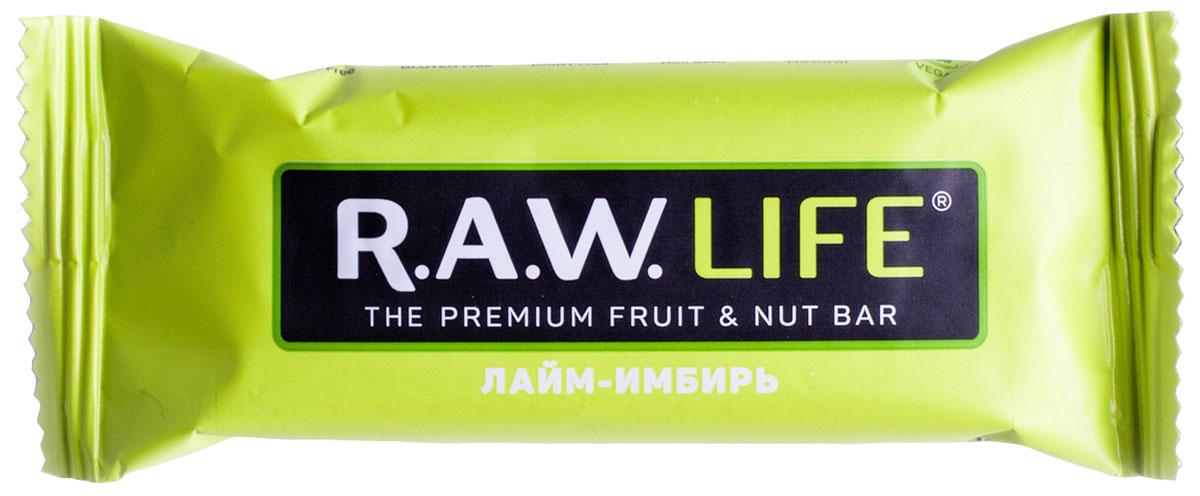 R.A.W.LIFE Лайм-Имбирь орехово-фруктовый батончик, 47 г сибирская клетчатка mу body slim фитококтейль имбирь и корица 170 г