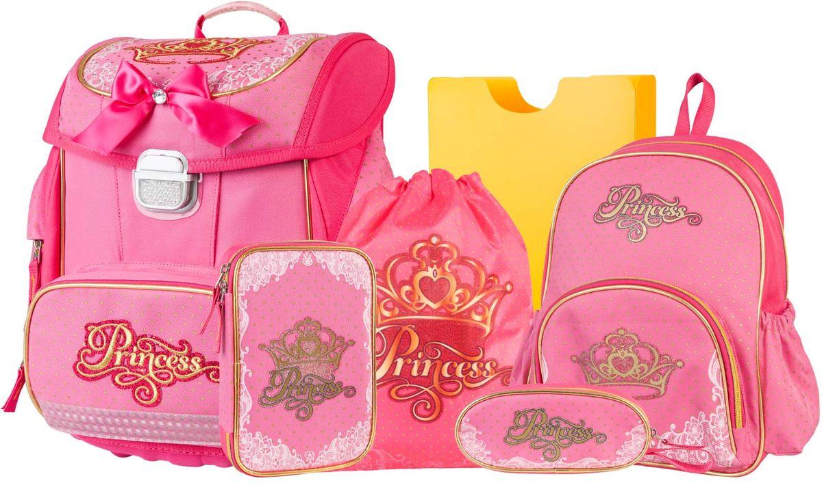 Target Collection Ранец школьный Принцесса 6 в 119663Ранец изготовлен из современных, прочных материалов. Техническими особенностями ранца является система Flexiball - поясничная поддержка, правильно распределяет вес ранца, автоматически подстраивается под ребенка, и поэтому обеспечивает идеальное положение в области поясницы ребёнка. Плечевые лямки можно регулировать для каждого ребенка индивидуально,содержат вентиляционные отверстия, оснащеныЭКО-пеной. Светоотражающий материал присутствует на передней, боковой и задней частях рюкзака, что позволяет сделать вашего ребенка более заметным, а так же обезопасить его не только днем, но и ночью. Молнии рюкзака прочные, металлические. В комплект данного набора входит сам ранец,малый рюкзак, сумка для сменной обуви, пенал овальный, пенал с канцтоварами ( В наполнение пенала входит точилка, ластик, три шариковые ручки синего, черного и красного цвета, два графитовых простых карандаша, 12 цветных карандашей бренда FILA Италия, 12 фломастеров бренда FILA Италия, клей, ножрницы), папка-держатель из ЭКО-пластика формата А4.При создании данной моделииспользуются улучшенные материалы (3D), которые имеют свойство «дышать». Благодаря этим материалам воздух циркулирует, и следовательно, спинаребёнка не будет потеть. Дополнительно,имеется грудное крепление-стяжка для фиксации на плечах и поясничное крепление для фиксации на поясе ребенка, они установлены так, чтобы порфель самыми оптимальным образом сидел на на теле ребенка. Правильно используя ремни, вес портфеля распределяется следующим образом: 50% на бедра и 50% на поясничную часть, что ощутимо позволяет уменьшить нагрузку и усилия при ходьбе. Мягкая ручка в верхней части позволяет сделать ношение в руке более удобным и комфортным. Дно портфеля изготовлено из качественного и прочного материала. Внутривложенные угловые элементы,чтобы не было прямого контакта с грунтом и таким образом, образуется защита от грязи.Порфель предназначен для детей ростом от 110 см: