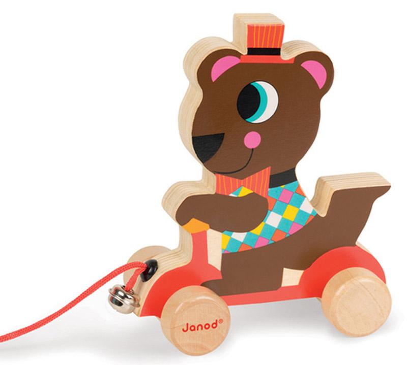 Janod Каталка на веревочке Мишка на самокате janod каталка на веревочке поезд ферма разборный с 1 5 лет