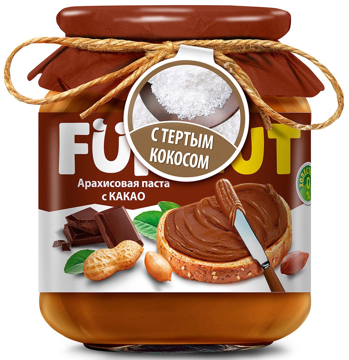 Funnat Арахисовая паста с какао с добавлением кокоса, 340 г4607125989812Арахисовая паста Funnat давно и широко распространена в США и вВеликобритании. Эта ореховая паста приготовлена из поджаренного арахиса, нежной текстуры. Благодаря содержанию легкоусвояемых белков и жиров, арахисовая паста может конкурировать по питательности с продуктами животного происхождения. Она сытная и полезная, и в то же время препятствует перееданию.