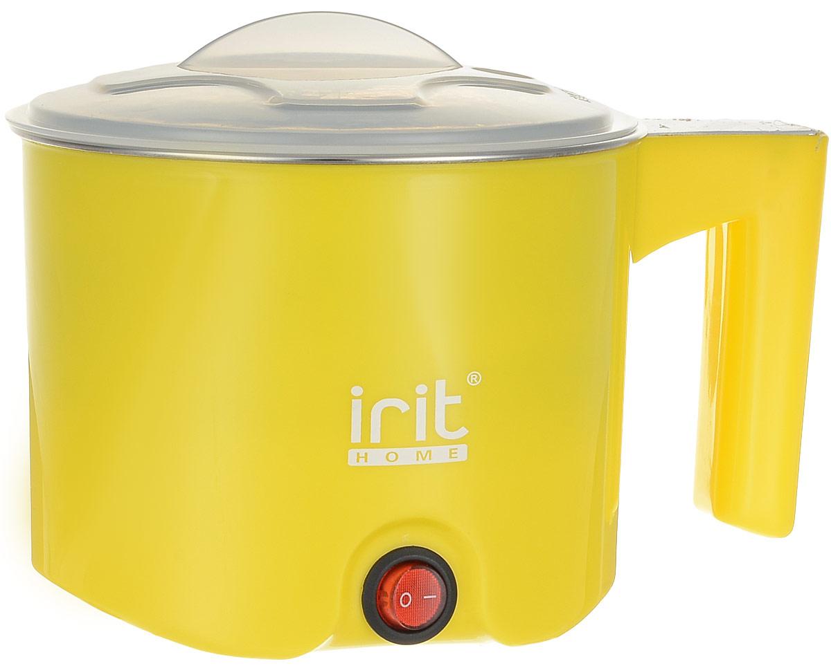 Irit IR-1100 электрический чайник79 02493Многофункциональный электрочайник Irit IR-1100 имеет металлический корпус с защитным пластиковым покрытием. Отличное решение для тех, кто любит устраивать быстрые перерывы на чай или кофе на работе или торопится сделать чай для всей семьи с утра. Это возможно благодаря нагревательному элементу, за счет которого вода закипает за несколько минут. Также возможно приготовление и подогрев пищи на пару. Чайник прост в управлении и долговечен в использовании.