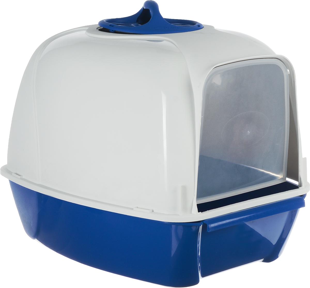 Био-туалет для кошек MPS Pixi, цвет: белый, синий, 52 х 39 х 39 см какой лучше купить кошке туалет с решеткой или без решетки