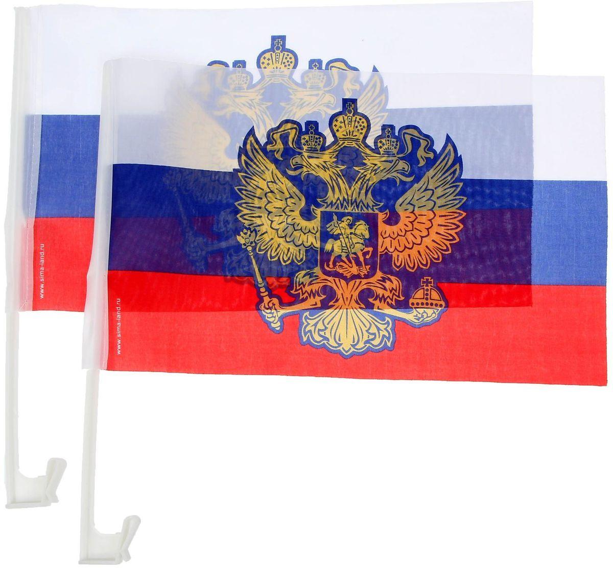 Флаг автомобильный Sima-land Россия, 2 шт флаг автомобильный ratel пограничные войска россии двухсторонний 30 х 40 см