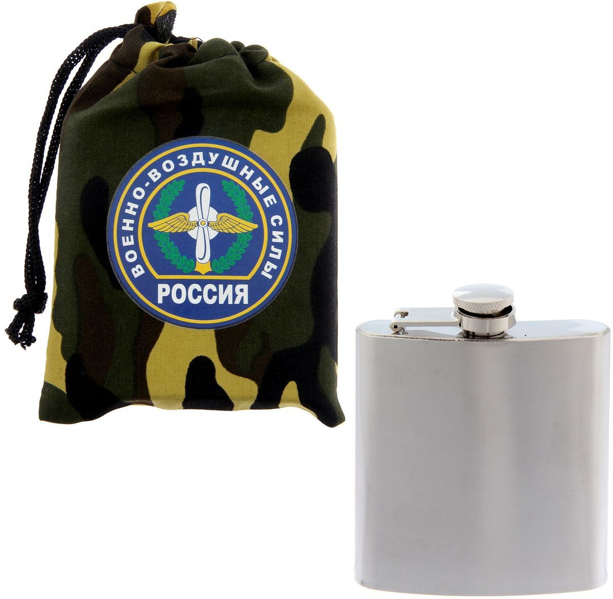 """В походе, на отдыхе, в пути — любимые напитки всегда с вами! Лёгкая и компактная фляжка выполнена из нержавеющей стали. Она имеет оптимальный объём и форму, благодаря чему помещается в карман, рюкзак или небольшую сумку. Плотно прилегающая крышка надёжно защищает от протекания.Фляжка в чехле """"ВВС"""" с эксклюзивным дизайном станет отличным подарком настоящему герою."""