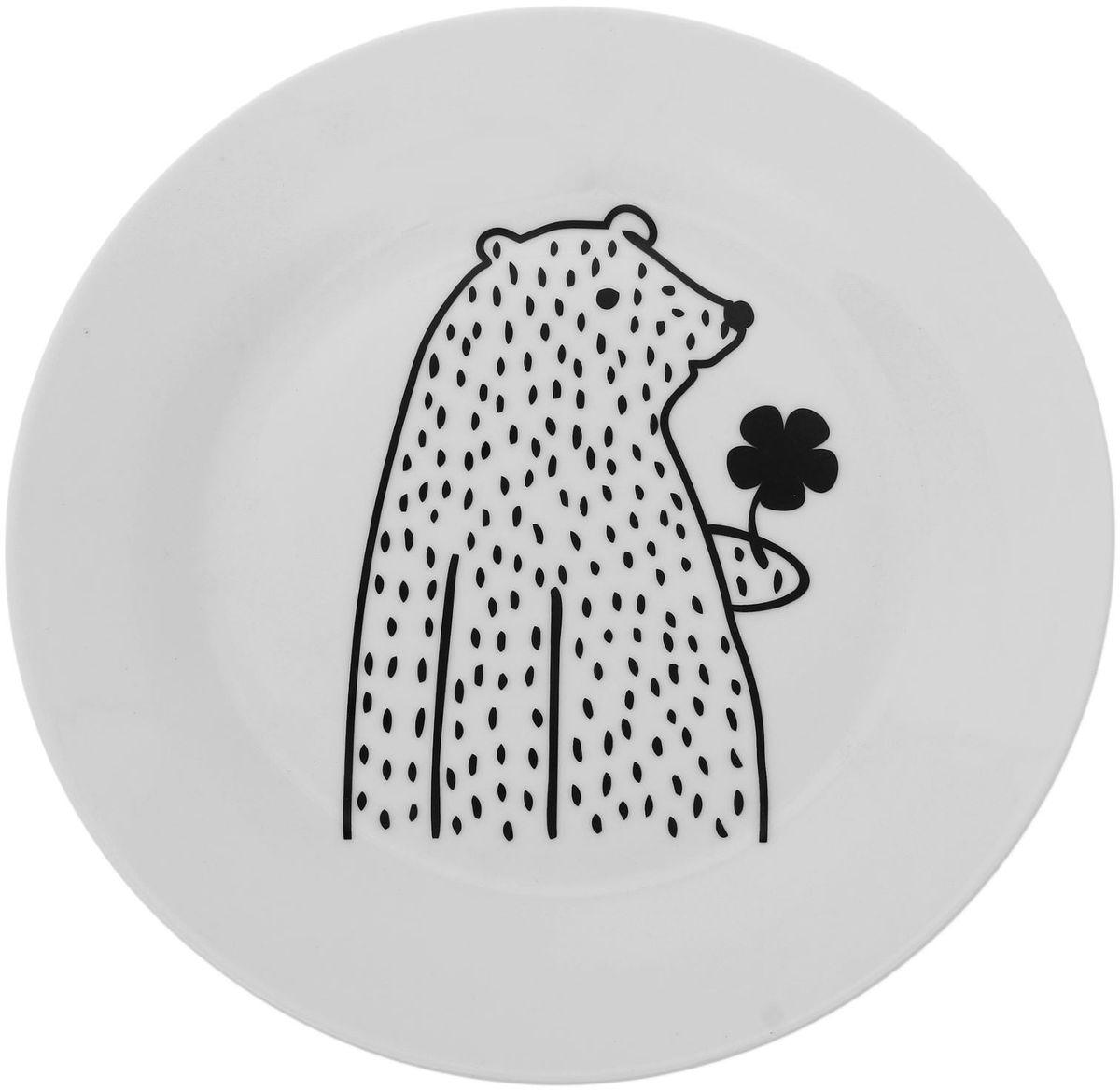 Тарелка Сотвори чудо Цветочный мишка, диаметр 23 см1661857Хотите обновить интерьер кухни или гостиной? Устраиваете необычную фотосессию или тематический праздник? А может, просто ищете подарок для близкого человека? Посуда Сотвори Чудо — правильный выбор в любой ситуации. Тарелка Сотвори Чудо, изготовленная из изящного фаянса нежного сливочного цвета, оформлена оригинальным рисунком со стойкой краской. Пригодна для посудомоечной машины.