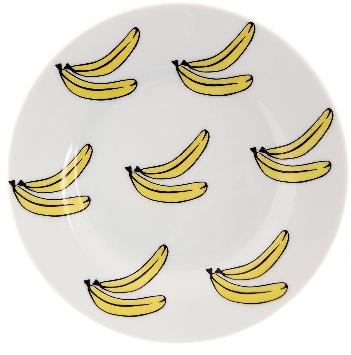 Тарелка мелкая Сотвори чудо Бананы, диаметр 15,5 см2277853Хотите обновить интерьер кухни или гостиной? Устраиваете необычную фотосессию или тематический праздник? А может, просто ищете подарок для близкого человека? Посуда Сотвори Чудо — правильный выбор в любой ситуации. Тарелка Сотвори Чудо, изготовленная из изящного фаянса нежного сливочного цвета, оформлена оригинальным рисунком со стойкой краской. Пригодна для посудомоечной машины.