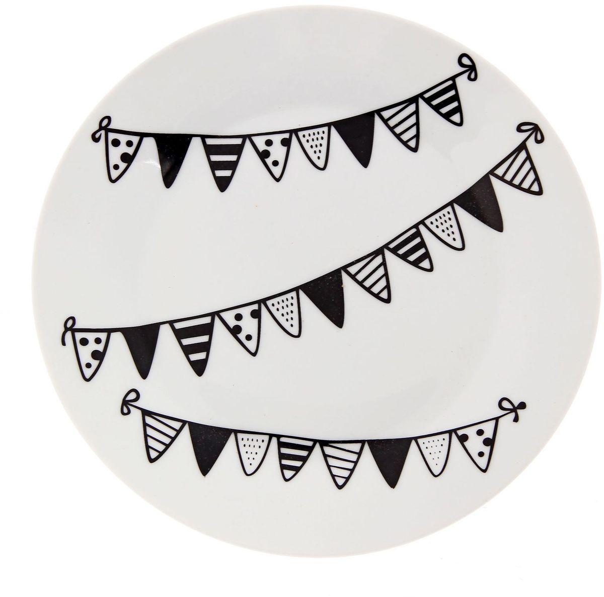 Тарелка мелкая Сотвори чудо Флажки, диаметр 20 см тарелка мелкая сотвори чудо полярный мишка диаметр 20 см