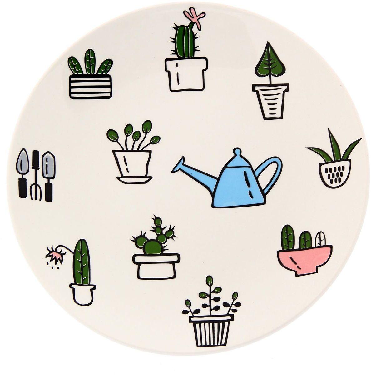 Тарелка Сотвори чудо Домашний сад, диаметр 22 см2277889Хотите обновить интерьер кухни или гостиной? Устраиваете необычную фотосессию или тематический праздник? А может, просто ищете подарок для близкого человека? Посуда Сотвори Чудо — правильный выбор в любой ситуации. Тарелка Сотвори Чудо, изготовленная из изящного фаянса нежного сливочного цвета, оформлена оригинальным рисунком со стойкой краской. Пригодна для посудомоечной машины.