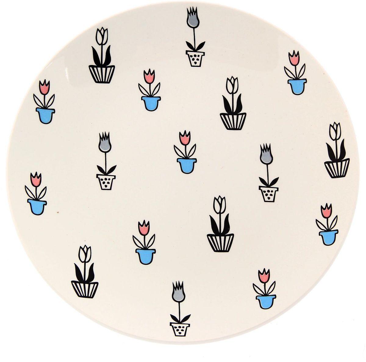 Тарелка Сотвори чудо Тюльпаны, диаметр 22 см2277895Хотите обновить интерьер кухни или гостиной? Устраиваете необычную фотосессию или тематический праздник? А может, просто ищете подарок для близкого человека? Посуда Сотвори Чудо — правильный выбор в любой ситуации. Тарелка Сотвори Чудо, изготовленная из изящного фаянса нежного сливочного цвета, оформлена оригинальным рисунком со стойкой краской. Пригодна для посудомоечной машины.