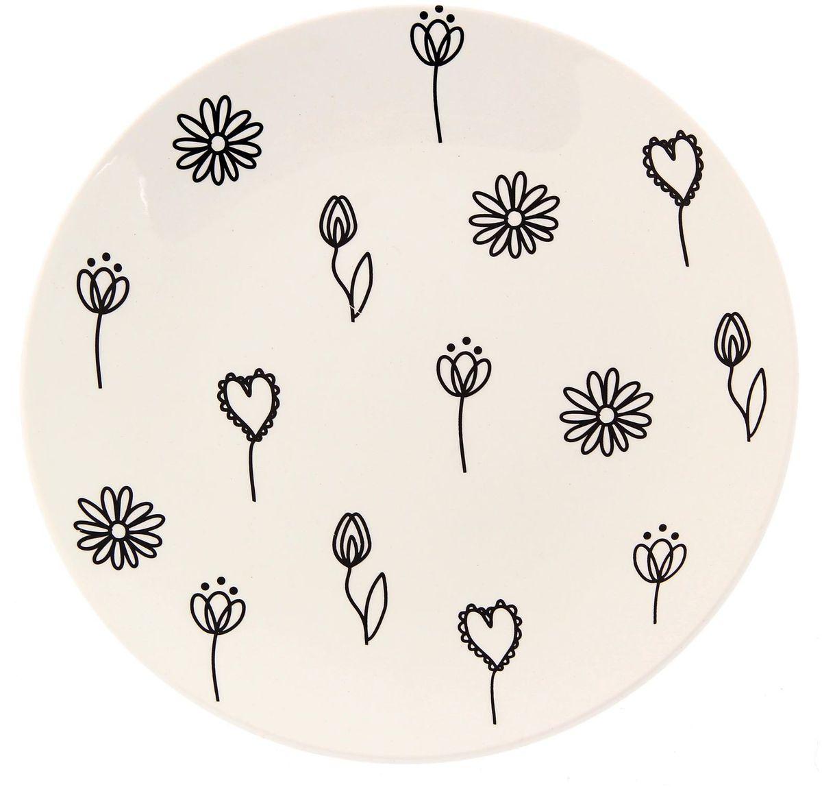 Тарелка Сотвори чудо Черный цветок, диаметр 22 см2277897Хотите обновить интерьер кухни или гостиной? Устраиваете необычную фотосессию или тематический праздник? А может, просто ищете подарок для близкого человека? Посуда Сотвори Чудо — правильный выбор в любой ситуации. Тарелка Сотвори Чудо, изготовленная из изящного фаянса нежного сливочного цвета, оформлена оригинальным рисунком со стойкой краской. Пригодна для посудомоечной машины.