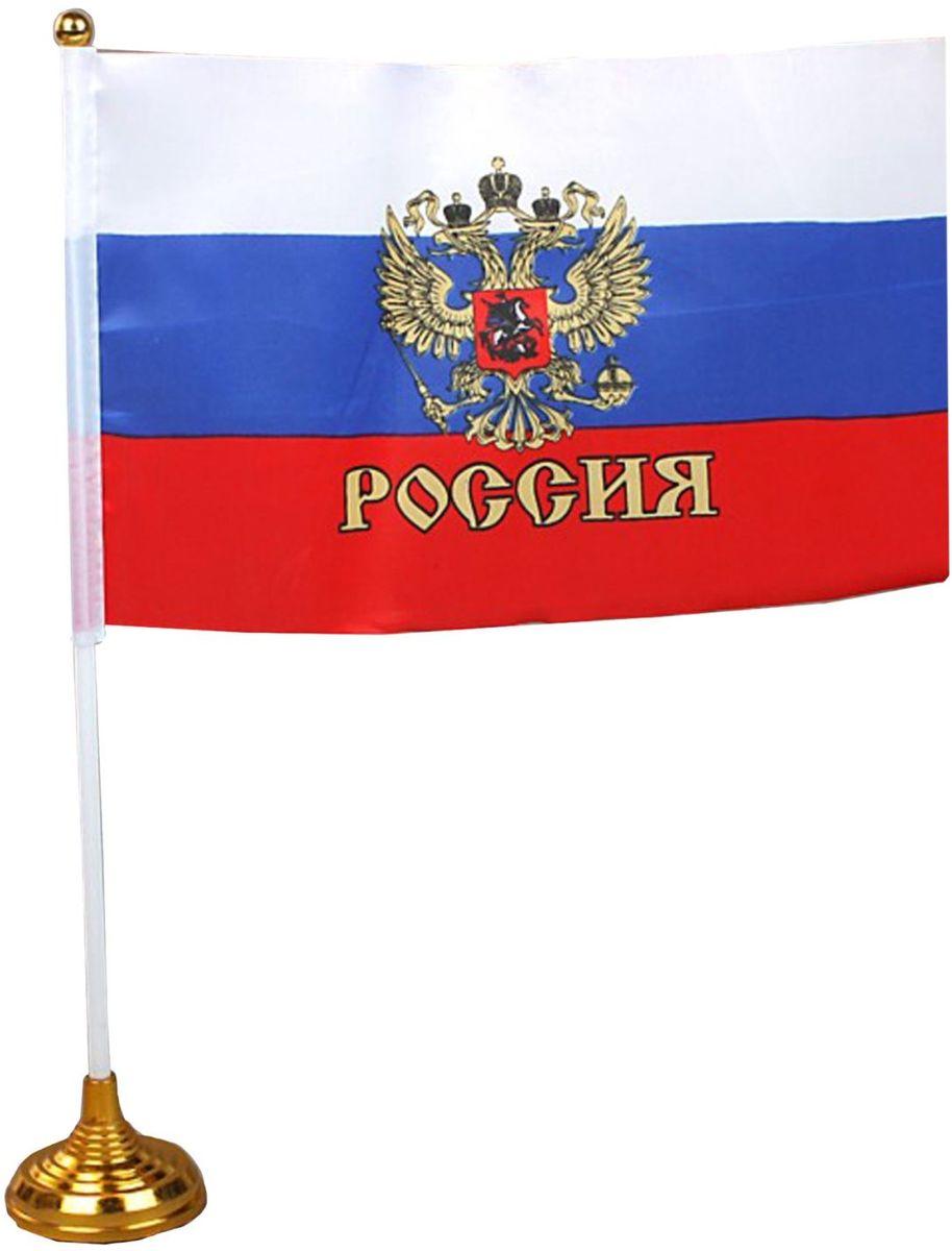 Флаг Sima-land Россия. Герб, со штоком, 14 х 21 см