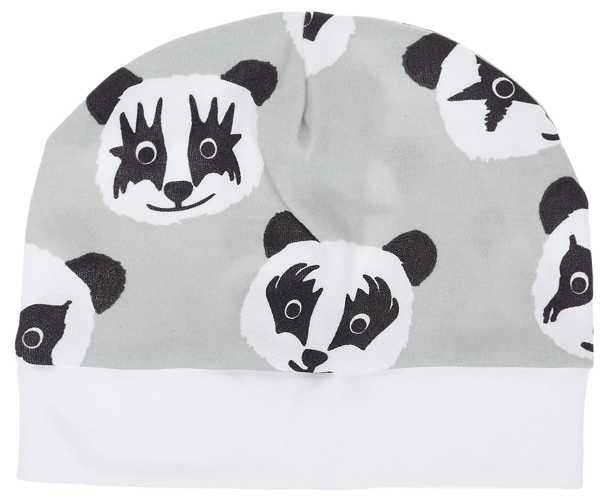 Чепчик детский КотМарКот, цвет: серый. 8521. Размер 368521Чепчик КотМарКот выполнен из натурального хлопка и оформлен оригинальным принтом с пандами.Модель по низу дополнена широкой резинкой.