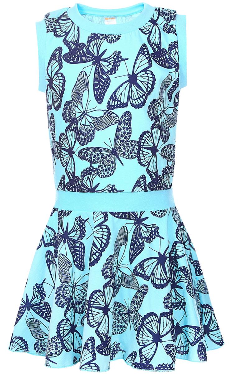 Платье для девочки КотМарКот, цвет: ментол. 21601. Размер 9221601Платье для девочки КотМарКот выполнено из натурального хлопка и оформлено принтом с бабочками. Модель с круглым вырезом горловины и юбкой-полусолнце.