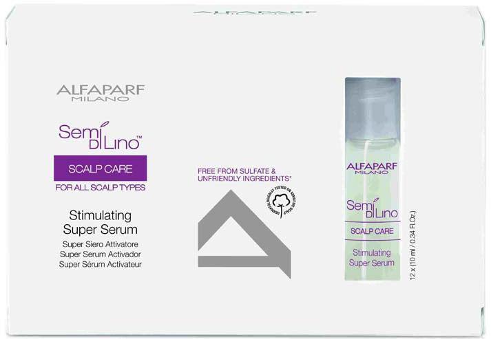 Alfaparf Semi Di Lino Scalp Stimulating Super Serum Супер сыворотка стимулирующая для кожи головы, 12х10 мл10032Супер сыворотка глубоко проникает в фолликулу волоса, создавая благоприятную среду для здорового жизненного цикла волос. Результатом является увеличение плотности и эластичности волос на стадии деления клеток. Положительно влияет на стимуляцию роста волос.Только для салонного применения. Объем: 12*10 мл
