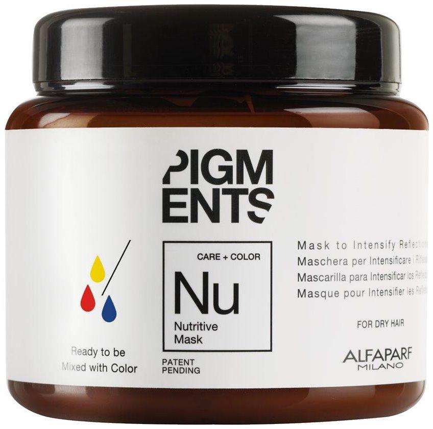 Alfaparf Pigments Nutritive Mask Маска питающая для сухих волос, 200 млalfa14099Маска предназначена для питания сухих волос. Специально разработанная формула поддерживает цвет и гарантирует стабильность пигмента в смеси. Входящие в состав растительные масла, богатые жирными кислотами, витаминами А и Е обеспечивают сбалансированное питание сухих и пушащихся волос, делая их мягкими и наполненными жизненной силой.Объем: 200 мл