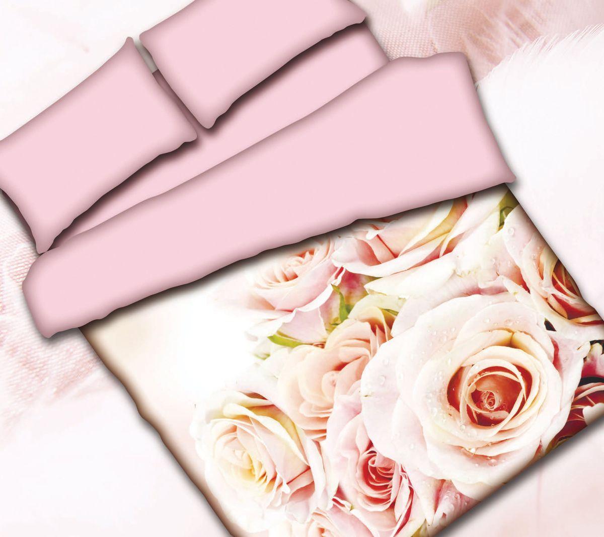 Комплект белья Коллекция Розы, 1,5-спальный, наволочки 50x70. СРП1,5/50/ОЗ/розыСРП1,5/50/ОЗ/розыКомплект постельного белья Коллекция прекрасно украсит любой интерьер. Выполнен из сатина. Сатин - это гладкая и прочная ткань, которая своим блеском, легкостью и гладкостью очень похожа на шелк. Ткань практически не мнется, поэтому его можно не гладить. Он практичен, так как хорошо переносит множественные стирки. Комплект включает в себя: простыню 160 х 224 см, пододеяльник 150 х 210 см,2 наволочки 50 х 70 см.