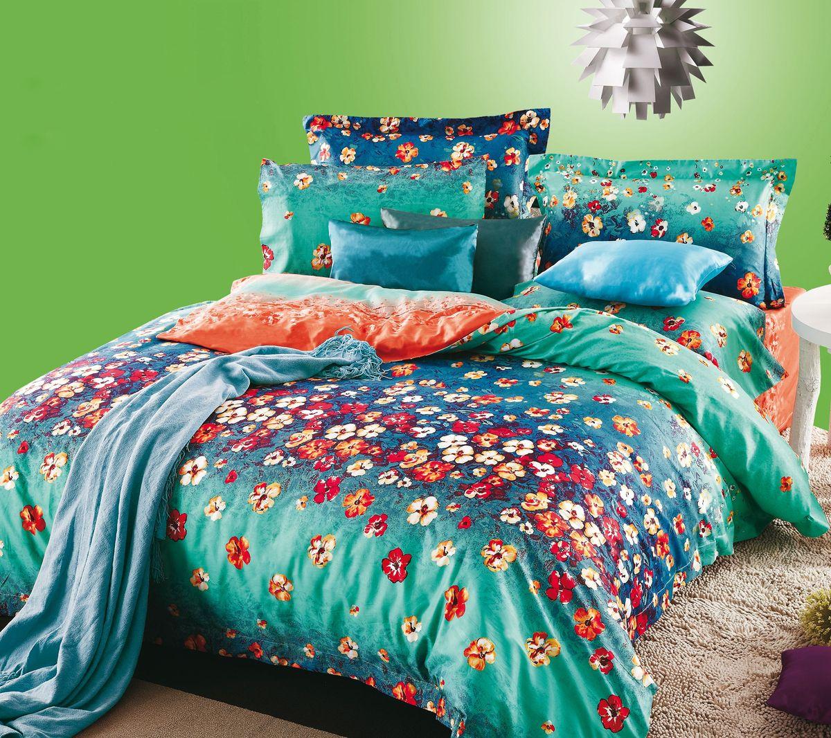Комплект белья Коллекция Цветочная поляна 2, 2-спальный, наволочки 50x70. СЛ2/50/ОЗ/цв2 комплект жасмина размер 2 0 спальный с европростыней