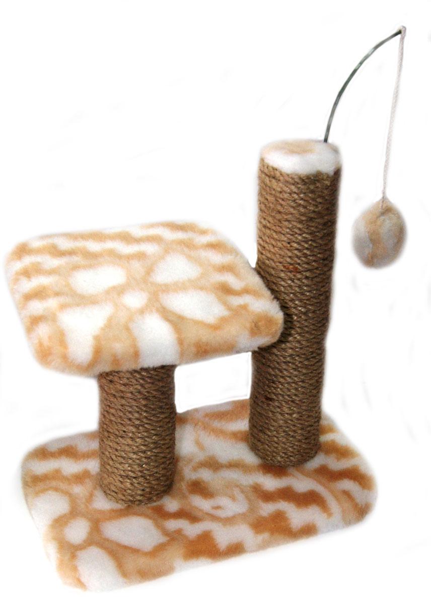 Когтеточка для котят Меридиан Цветы, двойная, цвет: белый, светло-коричневый, 30 х 20 х 34 смК703ЦвКогтеточка Меридиан предназначена для стачивания когтей вашего котенка и предотвращения их врастания. Она выполнена из ДВП, ДСП и обтянута искусственным мехом. Точатся когти о столбик из джута. Когтеточка оснащена подвесной игрушкой и полкой, на которой котенок сможет отдохнуть. Когтеточка позволяет сохранить неповрежденными мебель и другие предметы интерьера.