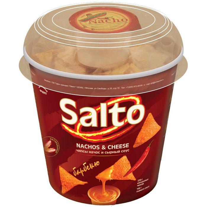 Salto Nachos Барбекю чипсы кукурузные натуральные, 220 гН00001220Набор, состоящий из натуральных кукурузных чипсов (NASHOS) + сырный соус + влажная салфетка для рук.