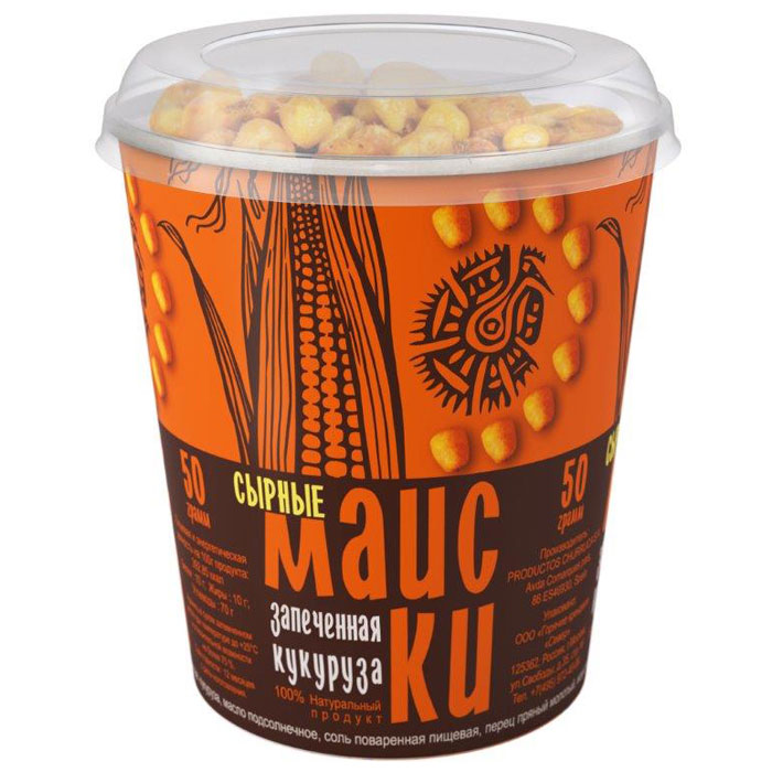 Маиски Сырные печеная кукуруза в стаканчике, 50 г