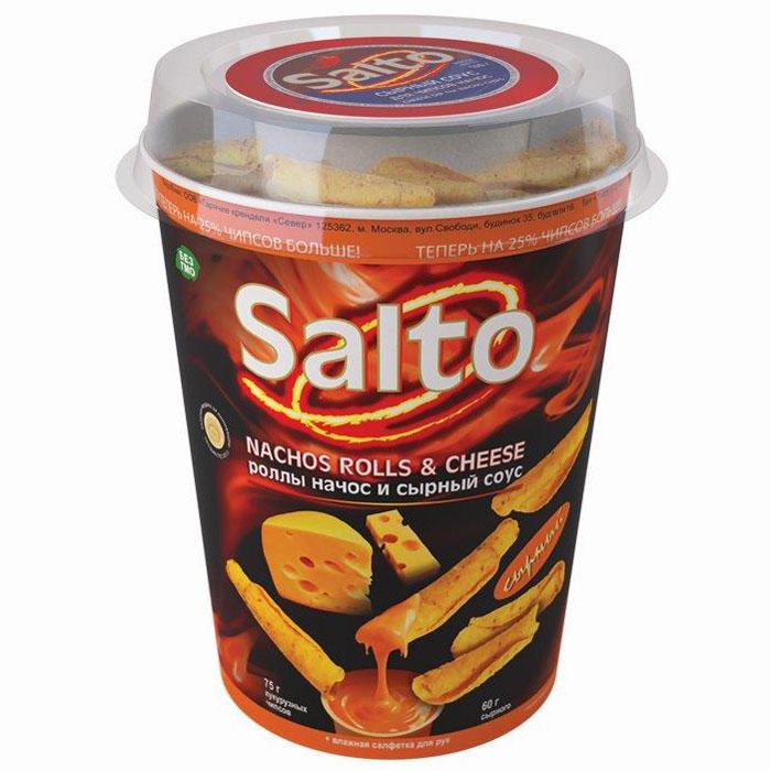 Salto Nachos Сырные роллы чипсы кукурузные натуральные, 75 гН00003083Набор, состоящий из натуральных кукурузных чипсов (NASHOS) + сырный соус + влажная салфетка для рук.