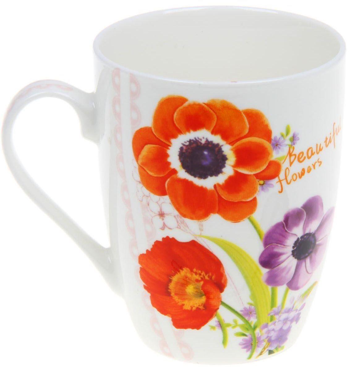 """Кружка Доляна """"Мираж цветов"""" изготовлена из керамики. Она украшена оригинальным цветочным рисунком. Кружка станет отличным подарком для родных и близких. Это любимый аксессуар на долгие годы.  Относитесь к изделию бережно, и оно будет дарить прекрасное настроение каждый день."""
