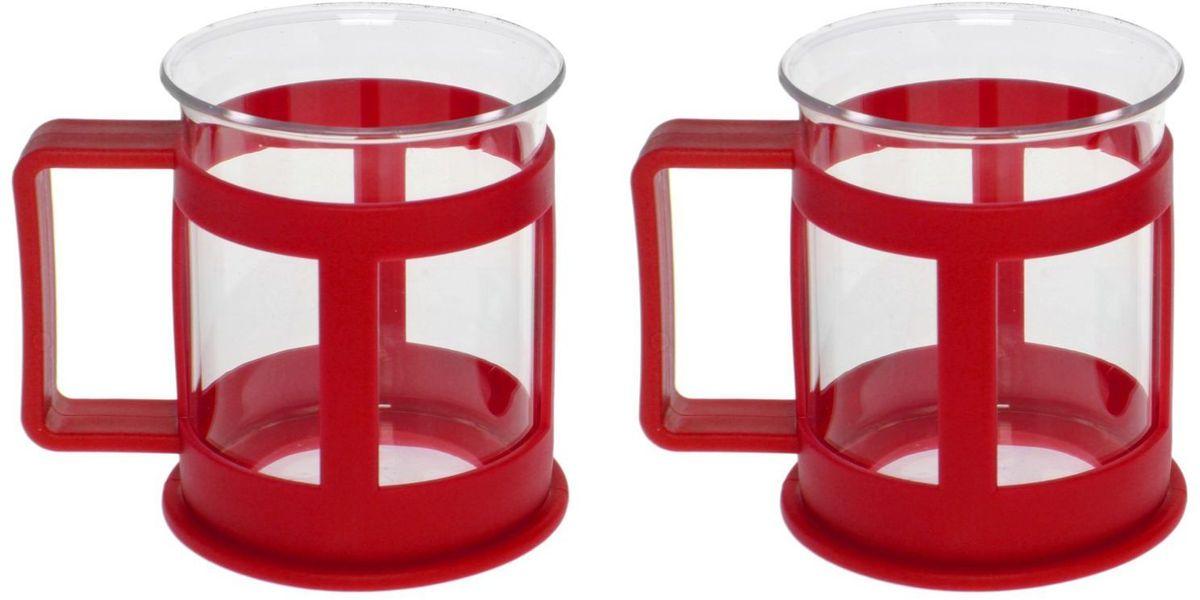 Набор кружек Доляна Классика, цвет: красный, 200 мл, 2 шт1075428Практичный набор кружек пригодится каждому человеку. Поставьте его на кухне, возьмите с собой на работу, в поход или путешествие: качественные изделия не подведут вас.Достоинства:удобный пластиковый подстаканник защищает стеклянный корпус;ручка не нагревается от горячих напитков;изделие легко мыть;необычный дизайн освежает интерьер.При необходимости стеклянная часть кружки может быть извлечена.Делайте свою жизнь комфортнее!