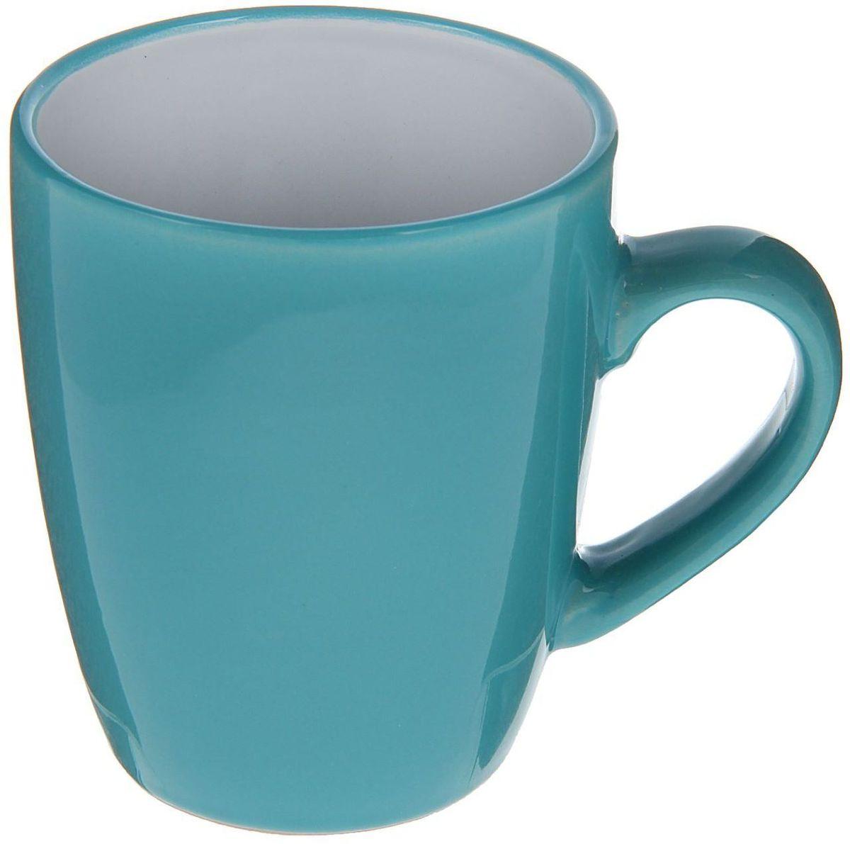 Кружка Доляна Дымка, цвет: голубой, белый, 360 мл кружка доляна радуга цвет желтый белый 300 мл
