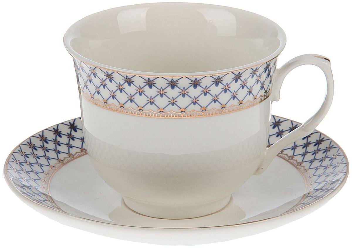 Набор чайный Доляна Рим, 2 предмета1405185Какую посуду выбрать для чаепития? Конечно, традиционный напиток по необходимости можно пить и из помятой алюминиевой кружки. Но все-таки большинство хозяек стараются приобрести изящные и оригинальные модели для эстетического наслаждения неповторимым вкусом и тонким ароматом хорошего чая.Кухонная керамика сочетает в себе бытовую практичность и декоративную утонченность. Нарядный комплект обязательных для чаепития атрибутов изготовлен на родине древнего напитка и привнесет в каждую трапезу особую энергетику.