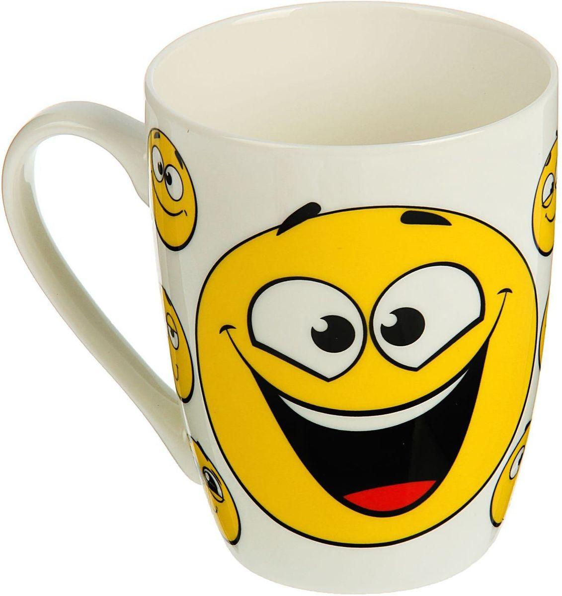 Кружка Доляна Смайлы, 350 мл кружка доляна радуга цвет желтый белый 300 мл