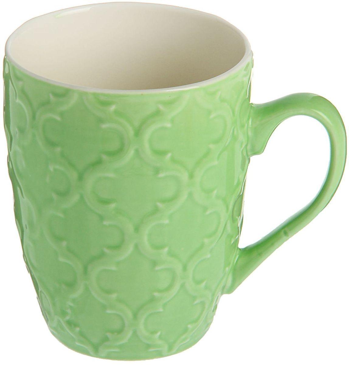 Кружка Доляна Орнамент, цвет: зеленый, 320 мл1625300Кружка Доляна Орнамент изготовлена из качественной прочной керамики с глазурованным покрытием. Поверхность устойчива к сколам и царапинам, а цвет сохраняет насыщенность при долговременном использовании. Традиционный стиль и приятный цвет делают предмет подходящим для домашнего и профессионального использования. Кружка станет любимым аксессуаром на долгие годы. Относитесь к изделию бережно, и оно будет дарить прекрасное настроение каждый день. Легко моется в посудомоечной машине, можно ставить в холодильник и СВЧ-печь.