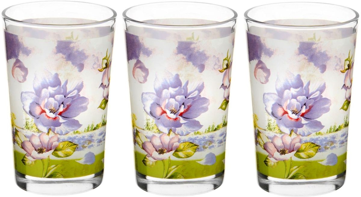 Набор стаканов Доляна Лиловый соблазн, 250 мл, 3 шт230294Набор стаканов Доляна Лиловый соблазн подходит для повседневного использования. Набор состоит из 3 стаканов. Они выполнены из прозрачного стекла, украшенного ярким цветочным рисунком, и порадуют каждого ценителя качественной посуды.Достоинства:- оригинальный дизайн делает предметы украшением интерьера;- материал не впитывает запахов;- поверхность легко отмывается.