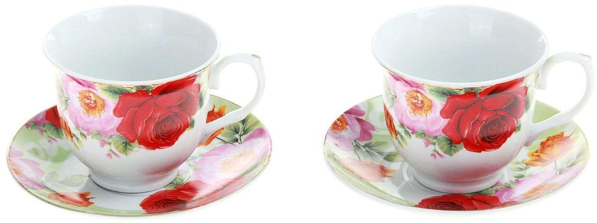 Набор чайный Доляна Летний луг, 4 предмета240587Какую посуду выбрать для чаепития? Конечно, традиционный напиток по необходимости можно пить и из помятой алюминиевой кружки. Но все-таки большинство хозяек стараются приобрести изящные и оригинальные модели для эстетического наслаждения неповторимым вкусом и тонким ароматом хорошего чая.Кухонная керамика сочетает в себе бытовую практичность и декоративную утонченность. Нарядный комплект обязательных для чаепития атрибутов изготовлен на родине древнего напитка и привнесет в каждую трапезу особую энергетику.