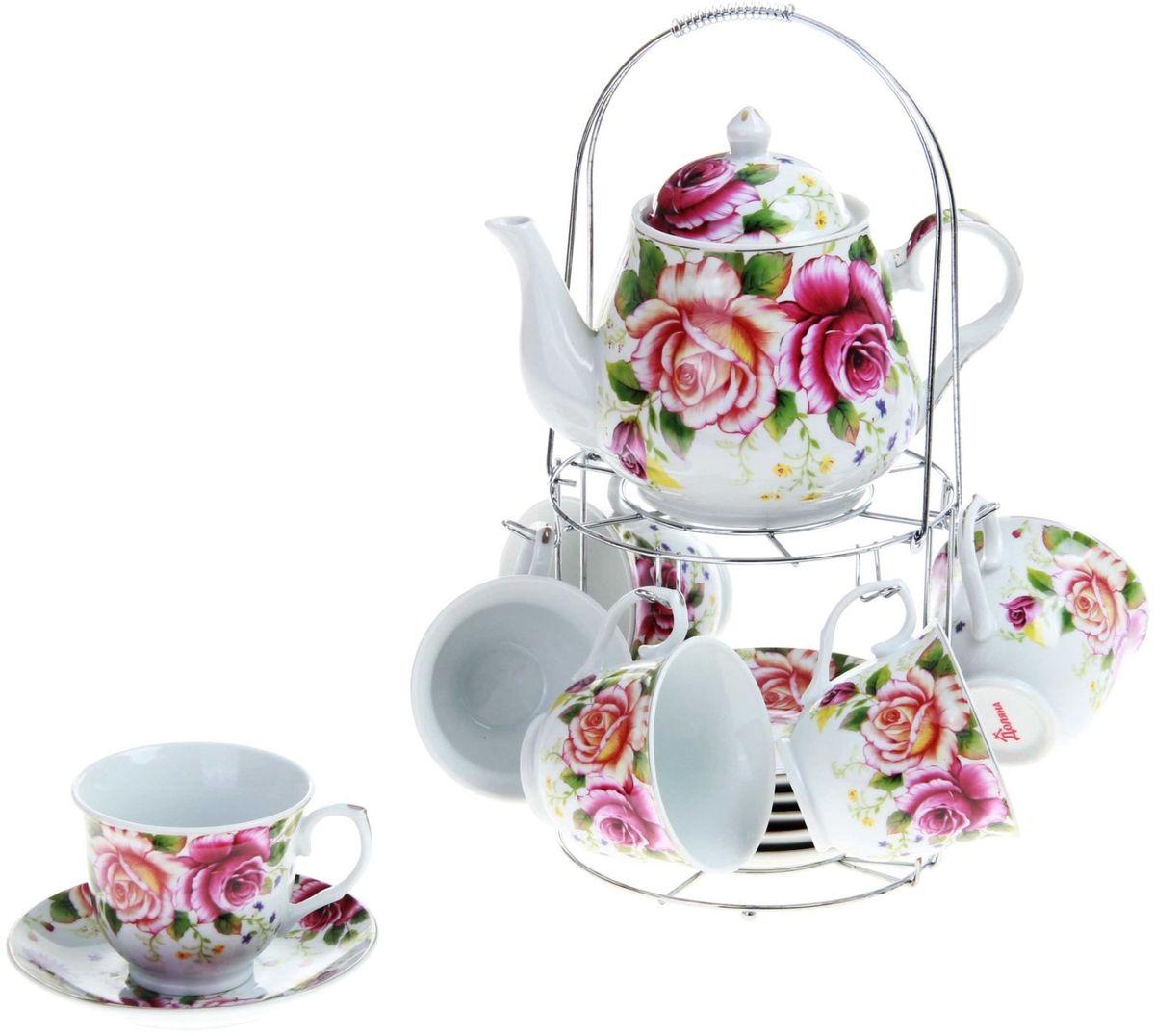 Набор чайный Доляна Томная роза, 14 предметов240597Набор чайный Доляна Томная роза состоит из 6 чашек и 6 блюдец, чайника и металлической подставки. Набор изготовлен из высококачественной керамики и оформлен стильным рисунком. Такой набор подходит для подачи чая. Изящный дизайн придется по вкусу и ценителям классики, и тем, кто предпочитает утонченность и изысканность. Он настроит на позитивный лад и подарит хорошее настроение с самого утра. Чайный набор Доляна - идеальный и необходимый подарок для вашего дома и для ваших друзей в праздники.