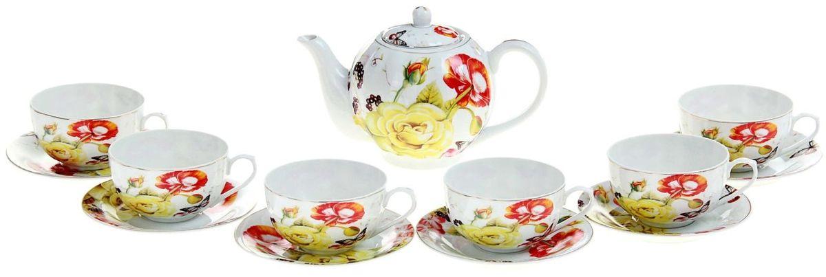 Набор чайный Доляна Майский сон, 13 предметов240618Какую посуду выбрать для чаепития? Конечно, традиционный напиток по необходимости можно пить и из помятой алюминиевой кружки. Но все-таки большинство хозяек стараются приобрести изящные и оригинальные модели для эстетического наслаждения неповторимым вкусом и тонким ароматом хорошего чая.Кухонная керамика сочетает в себе бытовую практичность и декоративную утонченность. Сервиз чайный Майский сон, 13 предметов: 6 чашек 250 мл, 6 блюдец, чайник 1 л отличается высокой прочностью и обаятельным дизайном. Нарядный комплект обязательных для чаепития атрибутов изготовлен на родине древнего напитка и привнесет в каждую трапезу особую энергетику.Сервизы на 6 персо