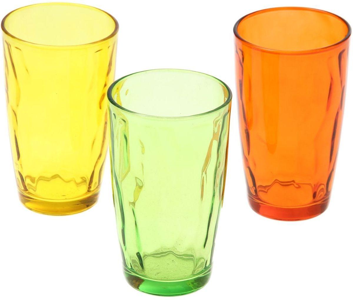 Набор стаканов Доляна Венский вальс. Осень, 340 мл, 3 шт335159Набор стаканов Доляна Венский вальс подходит для повседневного использования. Набор состоит из 3 стаканов. Они выполнены из прозрачного стекла, окрашенного в яркий цвет, и порадуют каждого ценителя качественной посуды.Достоинства:- оригинальный дизайн делает предметы украшением интерьера;- материал не впитывает запахов;- поверхность легко отмывается.Чтобы предметы радовали внешним видом как можно дольше, соблюдайте простые правила ухода:мойте только вручную;избегайте использования высокоабразивных средств и металлических губок;не допускайте падений и ударов.