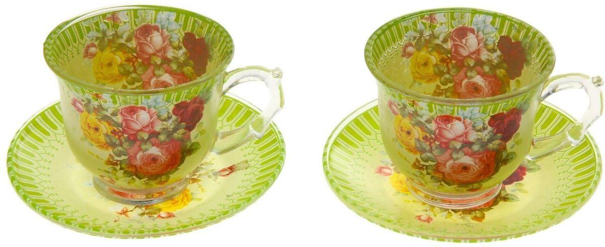 Набор чайный Доляна Карусель цветов, 4 предмета811253Чаепитие с родными и близкими — пожалуй, одно из лучших форм времяпрепровождения. Сделать его ещё приятнее можно с помощью красивой посуды.Чайный набор «Карусель цветов» — это изысканные стеклянные чашки и блюдца, которые буквально ласкают взор. Долго можно любоваться нежными, умиротворяющими рисунками... Из таких чашек и напиток кажется вкуснее, и даже конфета, лежащая на блюдце, становится будто бы чуть слаще!Кроме того, стеклянная посуда обладает рядом практических достоинств: термостойкостью, экологичностью и прочностью. Именно этим объясняются преимущества предметов набора:возможность обработки в СВЧ-печи,пригодность к мойке в посудомоечной машине.экологическая безопасность материала.Не рекомендуется:помещать посуду на открытый огонь и в морозильную камеру,допускать падение посуды с большой высоты.В набор входят 4 предмета:чашка 220 мл — 2 шт.,блюдце — 2 шт.Друзья и родные непременно оценят ваши старания по созданию уютной атмосферы. Заказывайте набор «Карусель цветов» на нашем сайте, и пусть регулярные дружеские чаепития войдут в привычку!