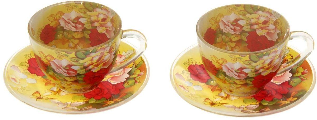 Набор чайный Доляна Май, 4 предмета811265Набор чайный Доляна Май включает 2 чашки и 2 блюдца, выполненных из высококачественного стекла. Стеклянная посуда обладает рядом практических достоинств: термостойкостью, экологичностью и прочностью. Чаепитие с родными и близкими - пожалуй, одна из лучших форм времяпрепровождения. Сделать его еще приятнее можно с помощью красивой посуды. Чайный набор Май - это изысканные стеклянные чашки и блюдца, которые буквально ласкают взор. Долго можно любоваться нежными, умиротворяющими рисунками... Из таких чашек и напиток кажется вкуснее, и даже конфета, лежащая на блюдце, становится будто бы чуть слаще. Можно ставить в СВЧ-печь и мыть в посудомоечной машине.