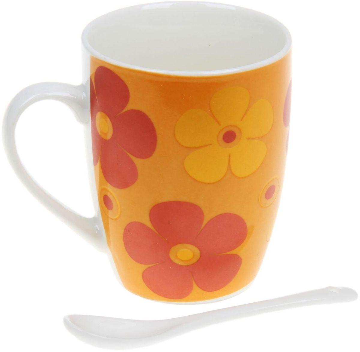 Кружка Доляна Радуга цветов, с ложкой, 300 мл836417Кружка Доляна Радуга цветов станет любимым аксессуаром на долгие годы. Относитесь к изделию бережно, и оно будет дарить прекрасное настроение каждый день!
